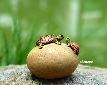 Miniature Enchanted Fairy Garden House Turtle Figurine, Two Turtles on Rock, Fairy Garden, Fairy House, Terrarium