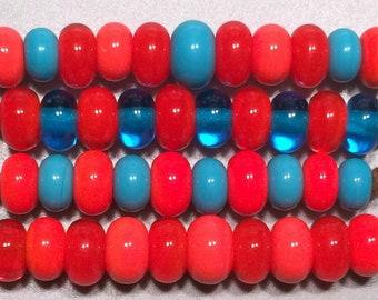 30 Poppy, Coral, Turquoise & Aqua Spacer Pairs - Handmade Lampwork Glass Beads SRA