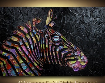 Original Pop Art Large abstract contemporary zebra painting metallic multicolor black palette knife impasto fine art by Susanna Huge 36x24