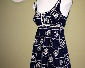 MOD vintage 60s Nautical Micro Mini Dress 1960s Rockabilly Pin Up Bombshell Sailor Navy Blue Top Hippie Boho Swimsuit Look Extra Small XS