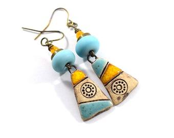 Handmade Asymetrical Earrings, Stoneware Earrings, Yellow and Turquoise, Artisan Earrings, Boho Earrings, Brass Earrings, Mismatched, AE236
