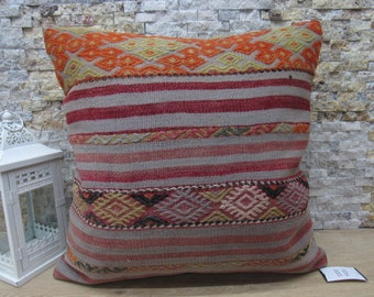 bohemian kilim pillow tribal kilim pillow 24x24 turkish kelim pillow throw pillow boho pillow ethnic pillow cushion cover 24x24 code 191