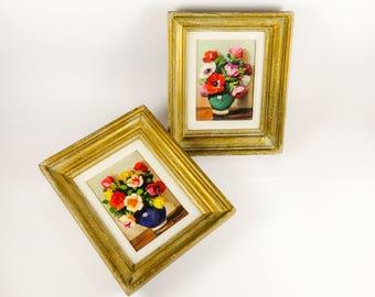 Floral Still Life Paintings Small Oil Art Pair Blue Vase Green Vase