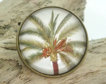 Palm Tree Ring (Antique Bronze) Glass Dome Cabochon, Flowers, Australian Made Jewellery / Jewelry
