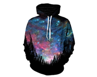 Festival Space Clothing - Trippy Alien Forest Hoodies - Printed Artwork Hoody - EDM Rave Wear