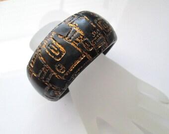 Black and Gold Leaf Bangle Bracelet, Polymer Clay Bracelet, Handmade, Jewelry, Bangle Bracelet, Gift for Her, Mom Gift