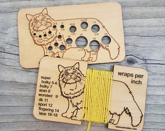 Cat Knitting Needle Gauge and Wraps Per Inch Tool