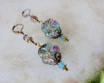Earrings with Glass Beads Small Vintage Style Dainty Lamp Work Earrings Filigree Bead Caps Green Round Bead with Pink Rose