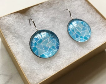 Blue Watercolor Tiled Earrings