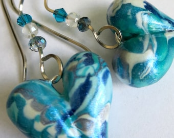 DARIA 2 . Polymer Clay Puffy Heart Drop Earrings With Hand formed 20 Gauge Square German Silver Wires