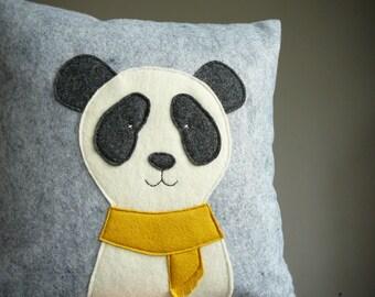 Panda Pillow - Pillow Cover - Decorative Pillow - Holiday Decor - Nursery - Panda - Grey