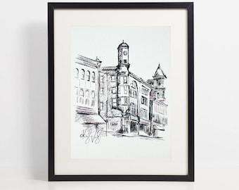 Clocktower Black and White Art Print