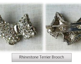 Rhinestone Terrier Brooch