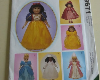 McCall's Crafts Pattern 9671  Storybook Theme 18 Inch Doll Clothes  Factory Fold
