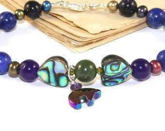 Symbolic Jewelry, Bear Totem Bracelet, Paua Pearls & Gemstone Beads