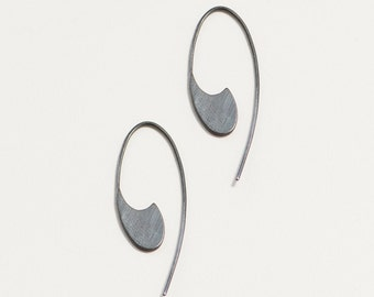 Long comma dangle earring- spiral hoop earring- modern dangle- sterling silver, oxidized silver