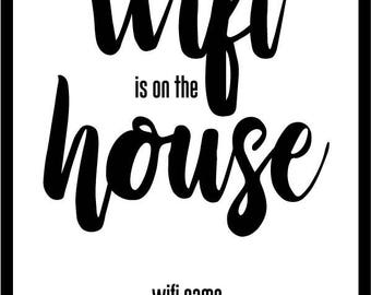 Wifi Is On The House - A4 Print