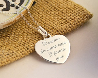 Personalised Sterling Silver Heart Charm Necklace