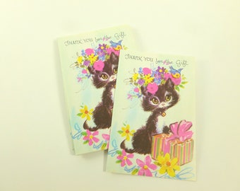 Thank You for the Gift Notes Lot of 10 Unused Mid Century Greeting Cards Big Eyes Black Cat with Colorful Flowers