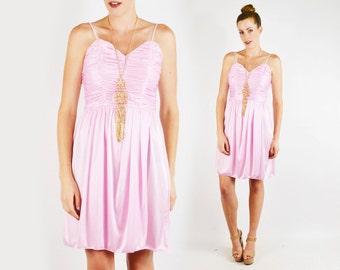 Pink Dress Mini dress Sweetheart Dress Ruch Dress Drape Dress Empire Waist Dress 80s Prom Dress 80s Dress Party Dress Disco Dress S Small
