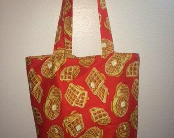 Waffles Fabric Print Handmade Tote Bag