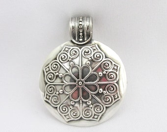 Antique sterling silver solid rose oriental style