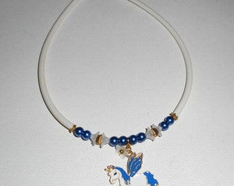 Necklace child Unicorn enamel with blue glass beads and flowers on white buna cord