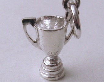 Genuine SOLID 925 Sterling Silver 3D Cup Trophy winners charm/pendant