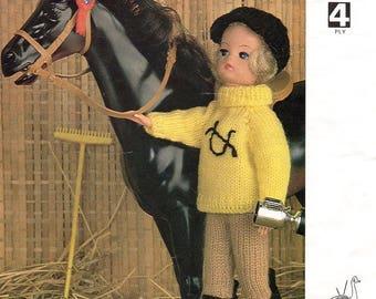 Sindy Doll Riding Outfit Knitting Pattern Jumper Jodphurs Hat Boots 4 ply Stocking Stitch Knit Purl Original Emu Larger Print Instructions