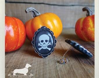 DOLLAR DEAL! Skull and Bones. Post Earrings -- (Vintage-Style, Halloween, Skull, Black, White, Simple, Goth, Punk, Skull Stud, Gift Under 5)