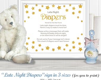 "Late NIGHT DIAPERS Baby Shower Sign in 3 sizes - (11 x 14"", 8 x 10"", 5 x 7""), Twinkle, Twinkle gold star theme, diy PRINTABLE, 85BA"