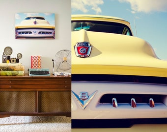 Automotive Decor, 1954 Ford Pickup, Retro Yellow Truck, Photo on Aluminum, Ready to Hang Metal Print, Home, Office, Bachelor Pad, Kids Room