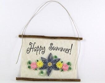 Paper Quilled Happy Summer Sign, 3D Quilled Banner, Summer Flower Decor, Country Wall Art, Blue Yellow Pink Decor, Summer Gift, Paper Art