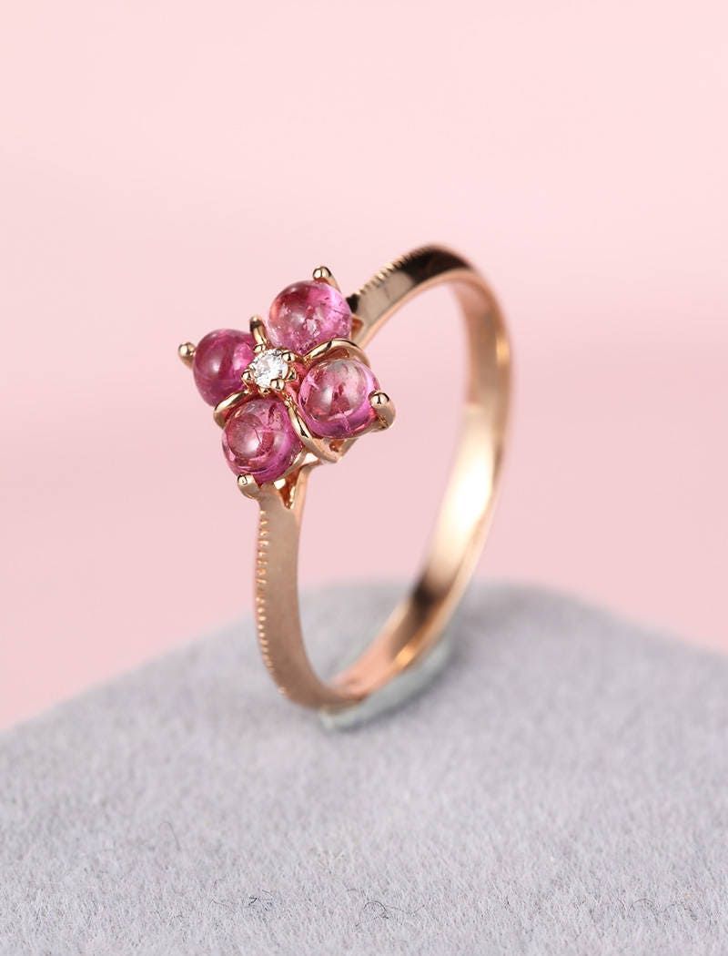 Pink tourmaline engagement ring rose gold engagement ring