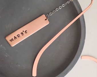 Bookmark, Personalised Bookmark, Copper Bookmark, Metal Bookmark, Personalised Gift, Handstamped Bookmark, Custom - choose your own text