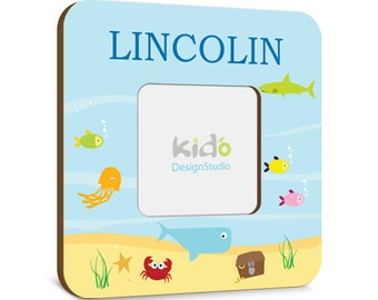 Baby Boy PHOTO FRAME OCEAN Sea Life, Picture Birth Frame for Kids Bedroom Baby Nursery Wall Decor