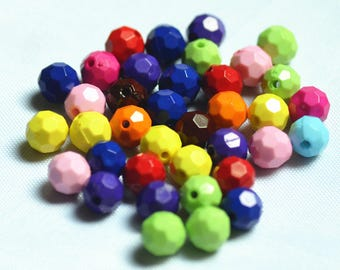 100 pcs 10mm Round Faceted Plastic Beads supplies