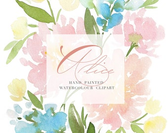 Watercolor Flower Clipart - Alice - Hand Painted Floral Graphic Elements