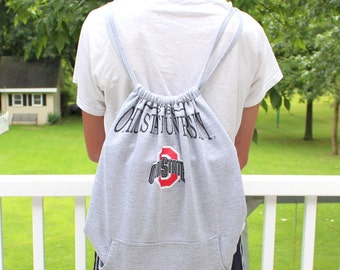 Custom Drawstring Sweatshirt Tote - Made with YOUR Sweatshirt - Tailgate Tote - Upcylce Recycle Sweatshirt