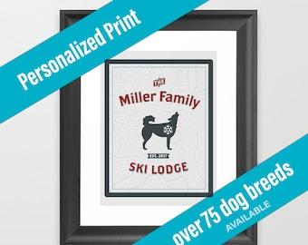 Dog Print Ski Lodge Decor | Mountain Theme | Over 75 Dog Breeds Available | Housewarming Gift