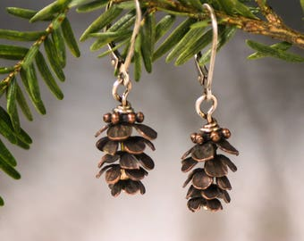 Pinecone Earrings, Rustic Copper Pinecones, Woodland Nature Inspired Dangles