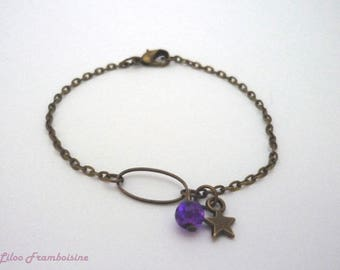 Bronze pearl bracelet purple and Star