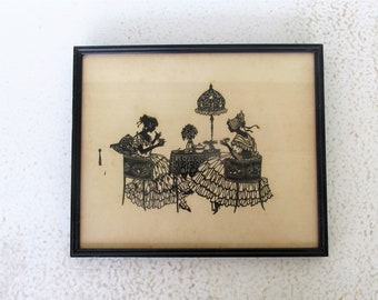 Silhouette Print Vintage Tea Party Framed Black and White  Art