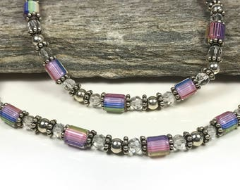 Pink-toned Multi-color Lampwork Glass and Sterling Silver Bead Necklace: Beautiful to own or give as a gift