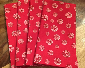 Red and White spiral circle dot Fabric Napkins-set of 2 or 4