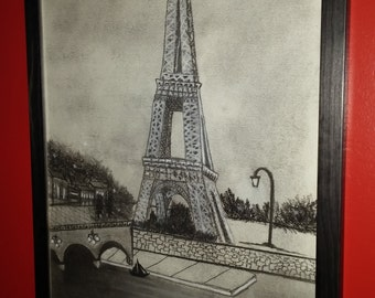 The Eiffel Tower Charcoal Drawing Wall Decor Framed Home Decor