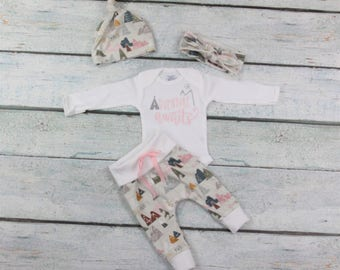 baby girl coming home outfit/Adventure awaits outfit/coming home outfit/baby girl coming home outfit/newborn girl