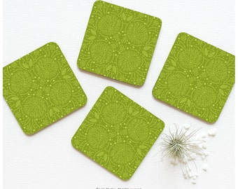 "Coaster Set of 4 ""Green Terrace"" by Iveta Abolina Greenery Color of the Year 2017 Cork Coasters Floral Coaster Set Illustration Coasters 07."