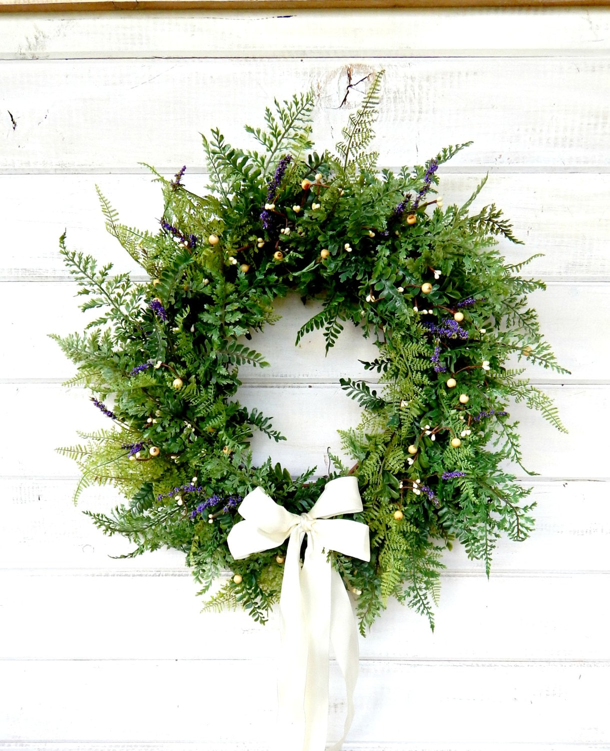 Fern Wreath Summer Wedding Wreath PURPLE U0026 WHITE FERN Wreath Front Door  Decor Garden Wedding Country Chic Home Decor Scented Wreath Custom