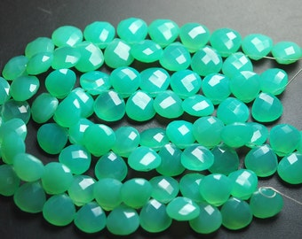 25 Pcs,New Chrysoprase Chalcedony Faceted Heart Shape,10mm